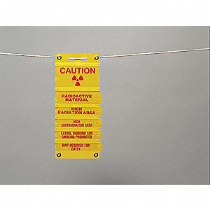 Danger Radiation Sign,4 x 8In,R/YEL,ENG