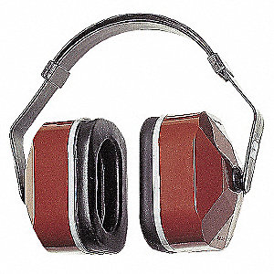 25dB Multi-Position Ear Muff, Black/Maroon&#x3b; ANSI S3.19-1974