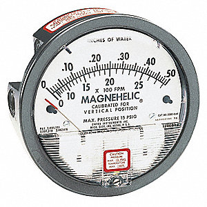 "1/8"" FNPT Differential Pressure Gauge with 4"" Dial, 0 to 0.25 In. H2O, Die Cast Aluminum"