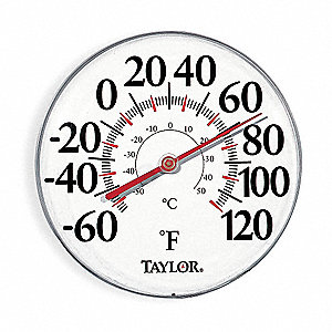 Analog Thermometer,-60 to 120 Degree F