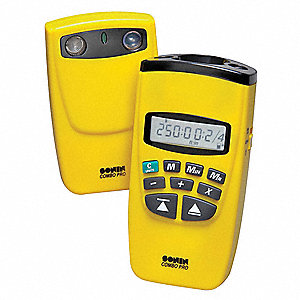 "Ultrasonic Distance Meter, ±1/4"" Accuracy, 1-1/2 to 60 Ft Single Mode/250 Ft Dual Mode Range"