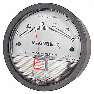 Pressure Gauge,0 to 0.25 In H2O