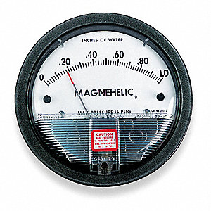 "1/8"" FNPT Differential Pressure Gauge with 4"" Dial, 0 to 1 In. H2O, Die Cast Aluminum"