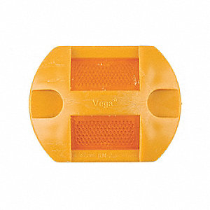 Pavement Marker,Amber,2-Way,4 L x 3 In W