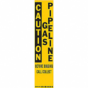 "Warning Stake Label,  Personal Protection,  English,  Polyester,  3"" Width,  14"" Height"