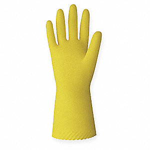 18.00 mil Natural Rubber Latex Chemical Resistant Gloves, Yellow, Size 7, 12 PK