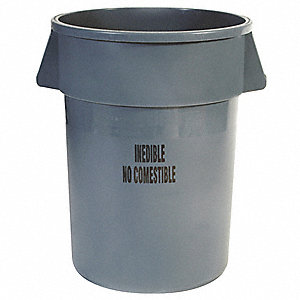 "BRUTE® 44 gal. Round Open Top Utility Trash Can, 31-1/2""H, Gray"