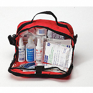 First Aid Kit, Kit, Nylon Case Material, General Purpose, 25 People Served Per Kit