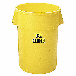 "BRUTE® 44 gal. Round Open Top Utility Trash Can, 31-1/2""H, Yellow"