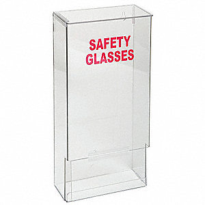 "8"" x 4"" x 15-3/4"" PETG Safety Glasses and Goggles Dispenser With Lid, Clear&#x3b; Holds Up to (20) Pairs"