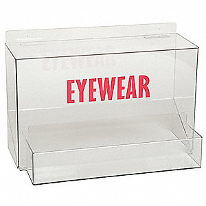 "18"" x 10-1/2"" x 12-1/2"" Acrylic Safety Glasses Holder, Clear&#x3b; Holds Up to (25) Pairs"