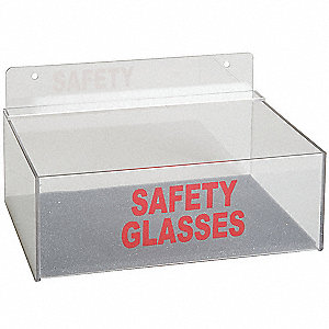 "9"" x 6-3/4"" x 3-1/4"" Acrylic Safety Glasses Holder, Clear&#x3b; Holds Up to (8) Pairs"