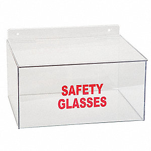"12"" x 9"" x 6-1/4"" PETG Safety Glasses Dispenser With Lid, Clear&#x3b; Holds Up to (8) Pairs"