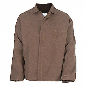 "Brown Aramid/Rayon Welding Jacket, Size: XL, 30"" Length"