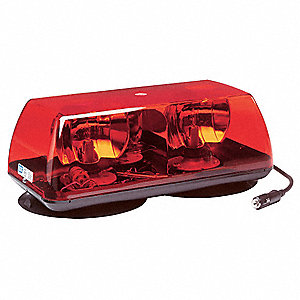 Red Mini Light Bar, Halogen Lamp Type, Magnetic/Suction Mounting, Number of Heads: 2