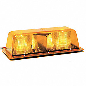 Amber Low Profile Mini Light Bar, Strobe Lamp Type, Permanent Mounting, Number of Heads: 2
