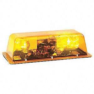 Amber Low Profile Mini Lightbar, Halogen Lamp Type, Permanent Mounting, Number of Heads: 2
