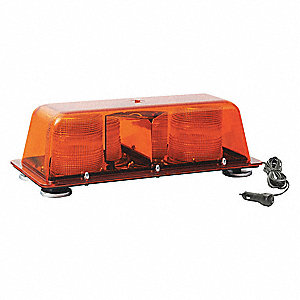 Amber Low Profile Mini Lightbar, Strobe Lamp Type, Magnetic Mounting, Number of Heads: 2