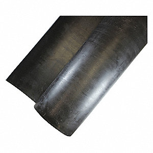 "Neoprene Rubber Sheet, 36""W x 3 ft.L x 1/4""Thick, 70A, Plain Backing Type, 270% Elongation, Black"
