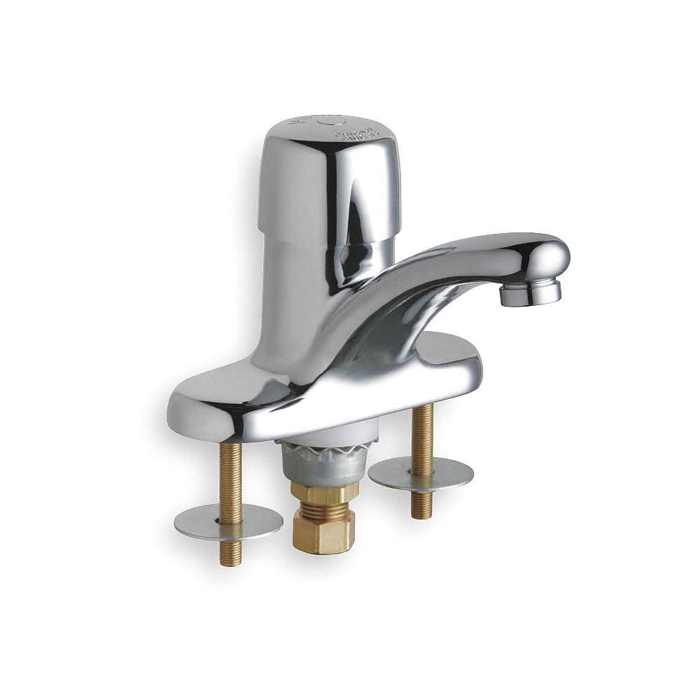 CHICAGO FAUCETS Low Lead Cast Brass Bathroom Faucet, Push Button ...