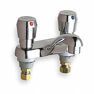 Chicago Faucets Low Lead Cast Brass Bathroom Faucet Push Button