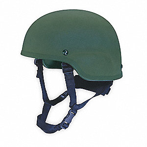"Green Ballistic Helmet, Shell Material: Kevlar®, Pad Thickness: 3/4"", Fits Hat Size: 7 to 7-1/4"""