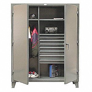 "Heavy Duty Storage Cabinet, Dark Gray, 78"" H X 60"" W X 24"" D, Assembled"