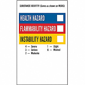 NFPA Label,5 In.H,3 In.W,Vinyl,PK500