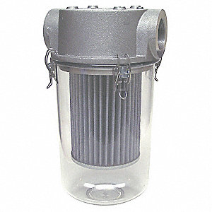 Aluminum Head, Polycarbonate BucketStandard Duty  T-Style Inlet Vacuum Filter, 99% Efficiency Rating