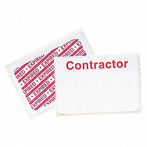Contractor Badge,1 Day,Red/White,PK500