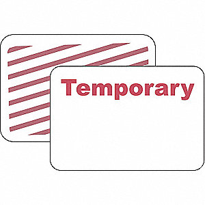 Temporary Badge,1 Day,Red/White,PK500
