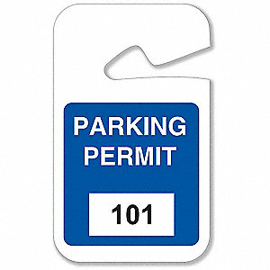 Parking Permits,Rearview,101-200,Wht/Blu