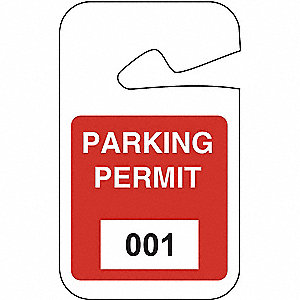 Parking Permits,Rearview,001-100,Wht/Red