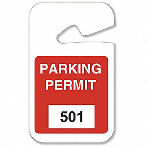 Parking Permits,Rearview,501-600,Wht/Red