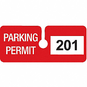 Parking Permits,Rearview,Wht/Red,PK100