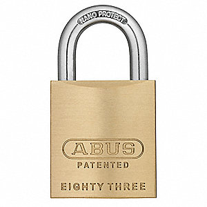 "Different-Keyed Padlock, Open Shackle Type, 1"" Shackle Height, Brass"