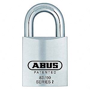 "Alike-Keyed Padlock, Open Shackle Type, 1"" Shackle Height, Chrome"
