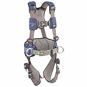 XL Construction Full Body Harness, 6000 lb. Tensile Strength, 420 lb. Weight Capacity, Blue