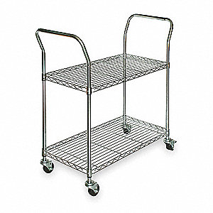 "41""L x 24""W x 39""H Chrome Steel Wire Cart, 350 lb. Load Capacity"
