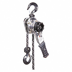 "Lever Chain Hoist, 1500 lb. Load Capacity, 20 ft. Hoist Lift, 29/32"" Hook Opening"