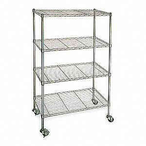 "60""L x 24""W x 67""H Chrome Steel Wire Cart, 600 lb. Load Capacity"