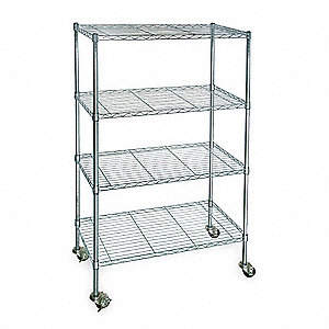 "48""L x 18""W x 67""H Zinc Plated Steel Wire Cart, 600 lb. Load Capacity"