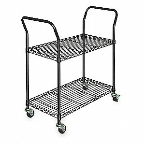 "53""L x 18""W x 39""H Powder Coated Steel Wire Cart, 350 lb. Load Capacity"