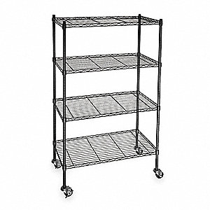 "Powder Coated Wire Cart, Black, 24"" Shelf Width, 48"" Shelf Length"