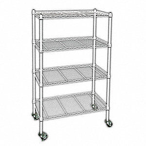 "Wire Shelving,Mobile,67"" H,Powder Coat"