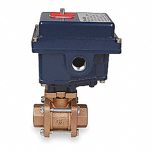 "Bronze Electronic Actuated Ball Valve, 1-1/4"" Pipe Size, 115VAC Voltage"