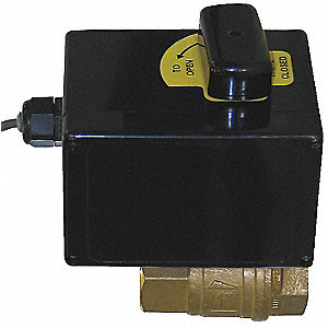"Brass Electronic Actuated Ball Valve, 1/2"" Pipe Size, 12VDC Voltage"