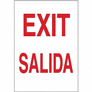 Exit Sign,14 x 10In,R/WHT,Exit/Salida