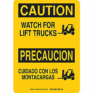Caution Sign,14 x 10In,BK/YEL,Bilingual