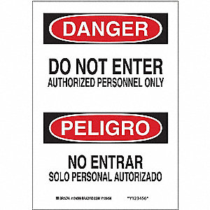"Authorized Personnel and Restricted Access, Danger/Peligro, Fiberglass, 20"" x 14"""